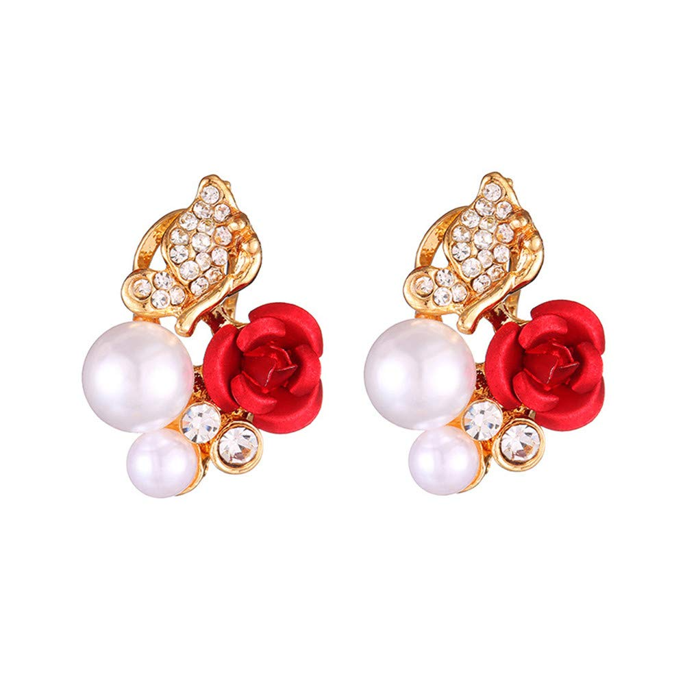 Paymenow Womens Girls Bohemia Earrings Fashion Summer Rose Pearl Circle Ear Clip Nice Jewelry (Red C)