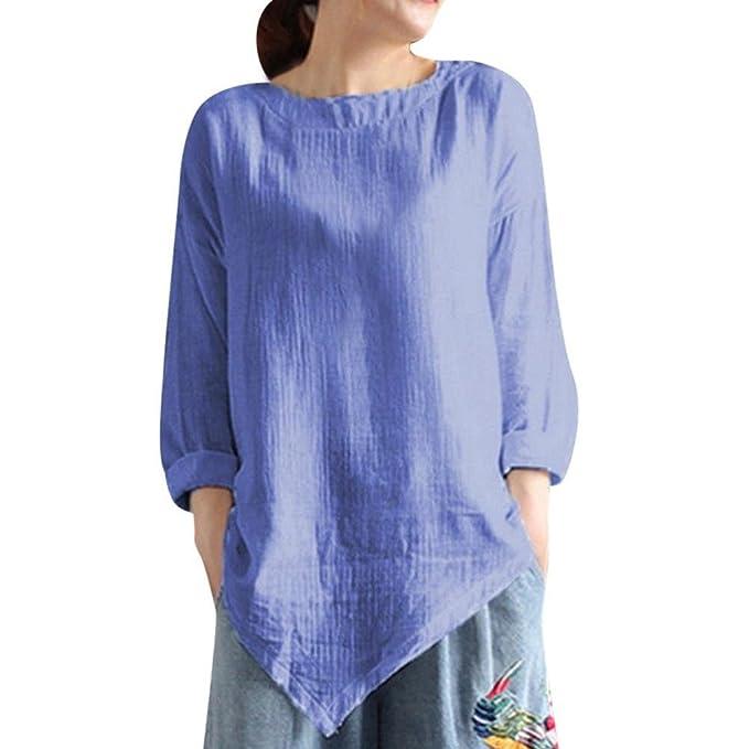PAOLIAN Camisetas Lino de Mujer Manga Largas Otoño 2018 Moda Camisas Casual Ancho Blusa Asimetricas Señora