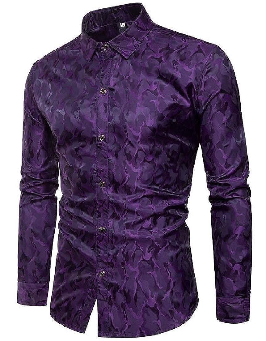 X-Future Mens Long Sleeve Stylish Lapel Slim Fit Casual Camo Nightclub Buttons Shirt