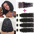 Brazilian Deep Wave Bundles With Closure Upgrade 8A+ Human Hair Bundles With Closure 100% Unprocessed Virgin Brazilian Curly Hair Bundles With Closure