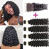 Brazilian Deep Wave Bundles With Closure 100% Virgin Human Hair 4 Bundles With Closure Free Part Unprocessed Short Bob...