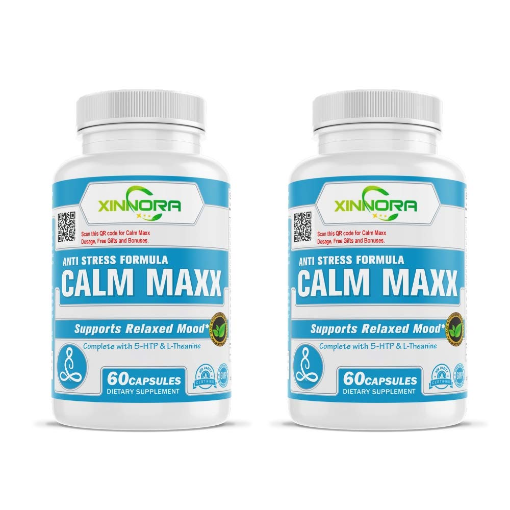 XINNORA Calm Maxx - Relaxed Mood Formula Men & Women - Natural Anxiety Relief Supplement - Supports Relaxed Mood, Anti-Anxiety, Stress Relief - 5-HTP, L-Theanine, Rhodiola, Ashwagandha 60Caps x 2 BTL