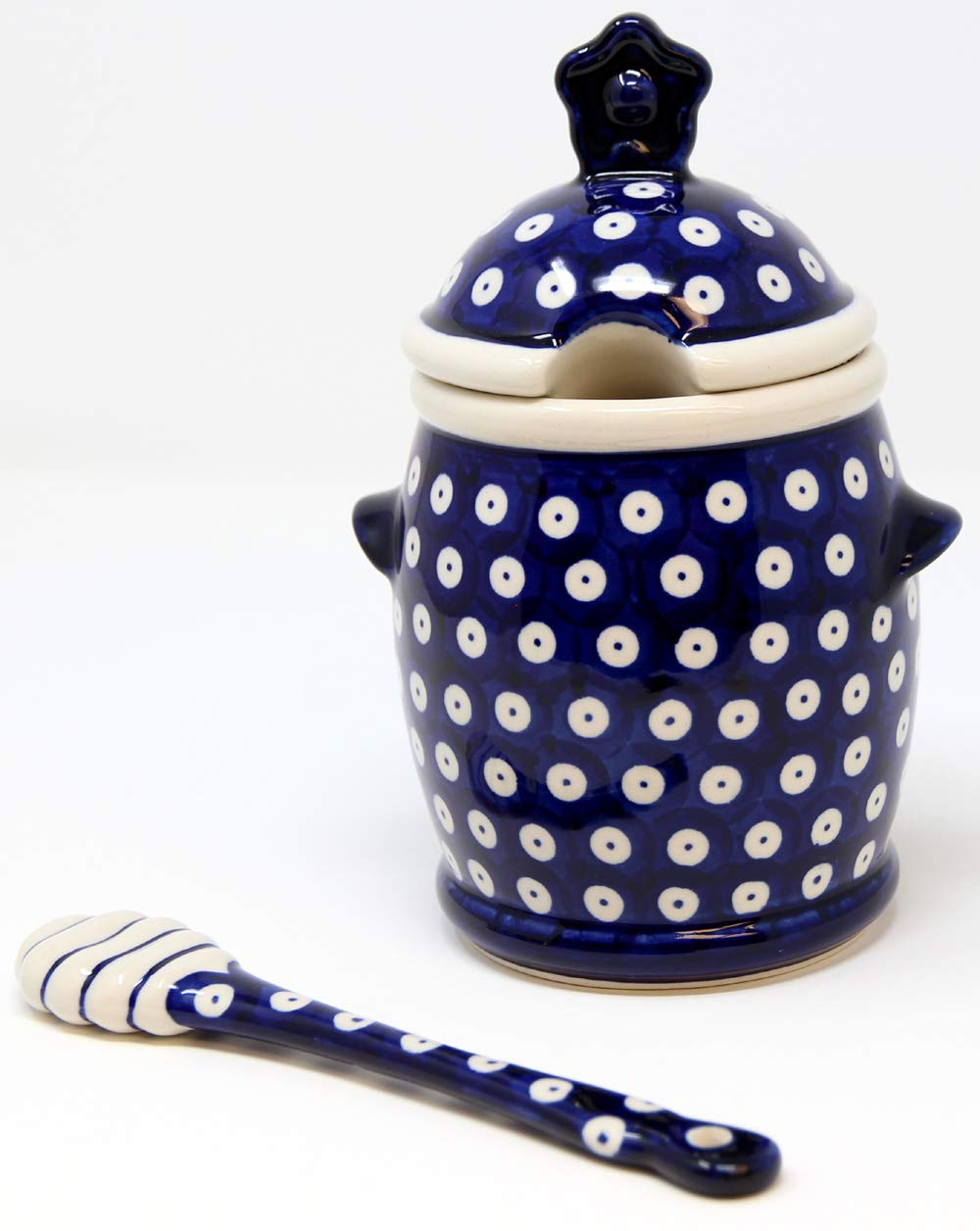 Polish Pottery Market Honey Pot and Dipper from Zaklady Boleslawiec by Polish Pottery Market
