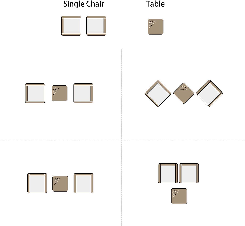 Ideal para Balc/ón y Terraza Estilo Simple IntimaTe WM Heart Conjunto Muebles de Jard/ín Cafeter/ía Sof/á Exterior en Poly Rat/án con Conj/ín