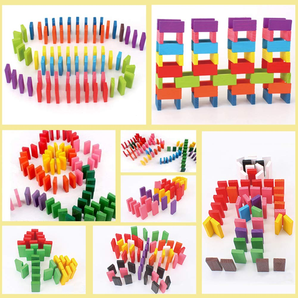 Super Domino Blocks Set, 360 PCS Colorful Wooden Domino Blocks Racing Toy Game Racing Educational Toys for Birthday Party