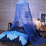 Princess Canopy For Girls & Kids Bed Room Decor,Polyester Round Dome Baby Girl Play Tent With Stars,Foldable Mosquito Net Curtains - Hanging Decorations Bedroom Netting For Playing,Reading (Blue)