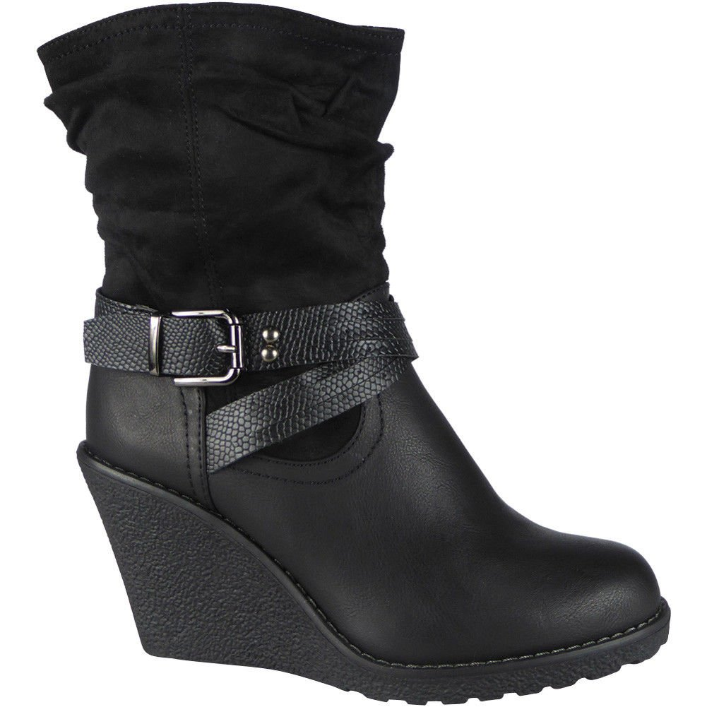 New Womens Ladies Buckle Mid High Heel Wedge Work Office Ankle Boots Shoes  Size 3-8: Amazon.co.uk: Shoes & Bags