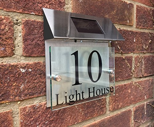 ThedisplayDeal Custom House Door Plaque, Solar Powered, Glass Look Acrylic & Brushed Aluminum Double Panel, Text area 7″x5″ (Solar Panel)