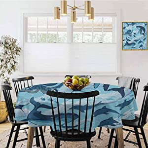 """Diameter 50"""" Round Tablecloth,Inhabitants of Ocean Sharks Whales Dolphins Octopus Jellyfish Starfish with Waves Image Blue,Polyester Table Cover Kitchen Dining Room Restaurant Banquet Decoration"""