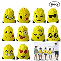 Dproptel 10 Pack Emoji Drawstring Backpack Bags Cute Designs, Christmas Gift Goody Birthday Party Favor Bags Supplies for Kids Teens Girls and Boys