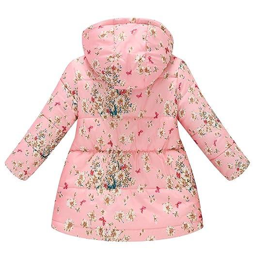 Little Story Toddler Baby Girsl Boys Floral Flower Winter Warm Jacket Hooded Windproof Coat