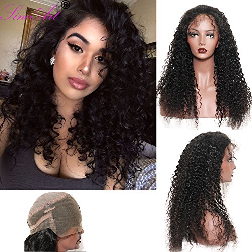 SinoArt 360 Lace Wig 2017 New Style 130% 150% 180% High Density 10A Brazilian Human Hair Wigs Deep Curly Free Part Wig with Baby Hair for (Caucasian Wigs)