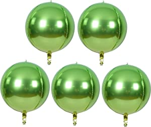TONIFUL 5pcs Hangable Apple Green 4D Round Sphere Foil Mylar Balloon 22inch Large Aluminum Film Balloon Apple Green Mirror Metallic for Birthday Party Wedding Baby Shower Decoration Supplies