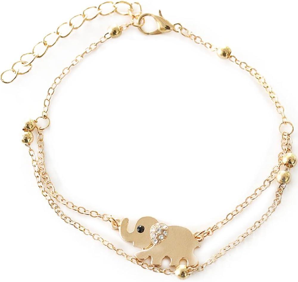 Bracelet de cheville avec pendentif /él/éphant pour femme couleur or rose avec strass Wicemoon
