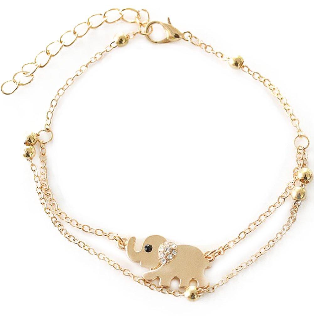 Hosaire Ankle Double Chain Elephant Bells Anklet Bracelet Barefoot Sandal Beach Wedding Foot Jewelry