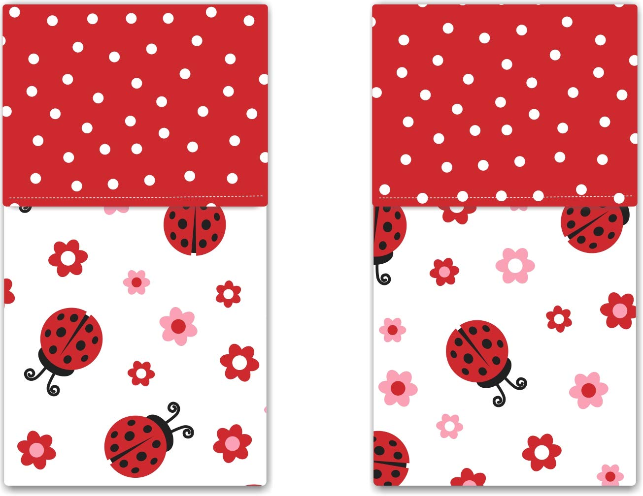 Funkins Cloth Placemats for Kids | School Lunches | Reusable, Eco-Friendly | 2-Ply, Durable | Set of 2, 15''x13'' Cloth Placemats | Ladybugs