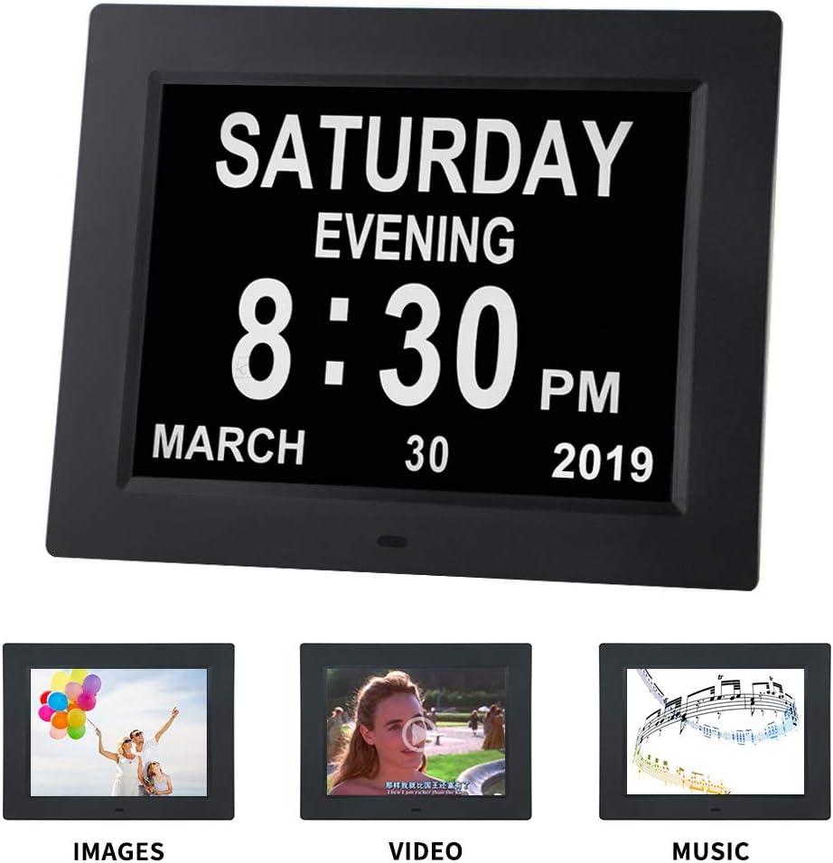 Extra Large Non abr/ég/ée Jour et Mois avec 5 alarmes et 3 Rappel de m/édicaments Affichage Automatique /à intensit/é Variable TMC Horloge de Jour en m/étal pour Perte de m/émoire