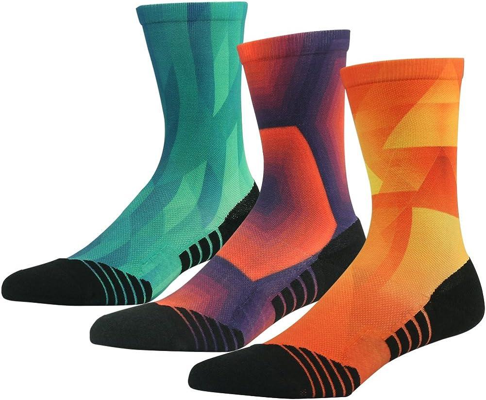 HUSO Unisex Fashion Digital Printing Sports Crew Hiking Socks 3, 4 Pairs