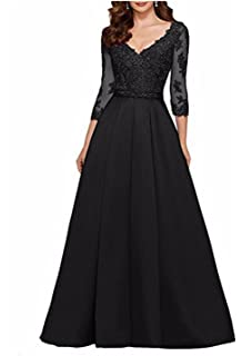 cbcc4b3ac6a AngelaLove Applique V-Neck 3 4Long Sleeve Mother of The Bride Dress Beaded  Formal