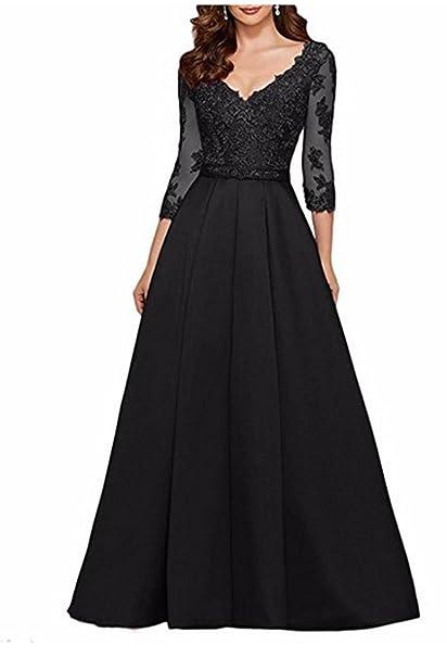 Amazon.com: AngelaLove Vestido de noche formal con cuello en ...