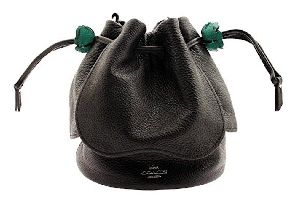 COACH Pebble Leather Petal Bag Crossbody, F57543 (Black)