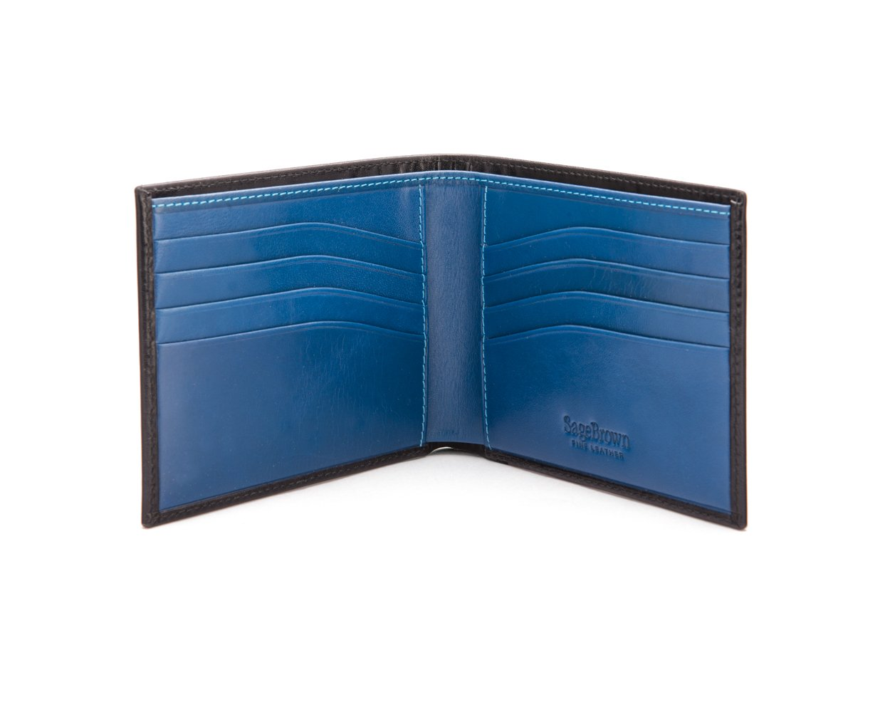 SAGEBROWN Black With Cobalt Compact Classic Bill fold Wallet