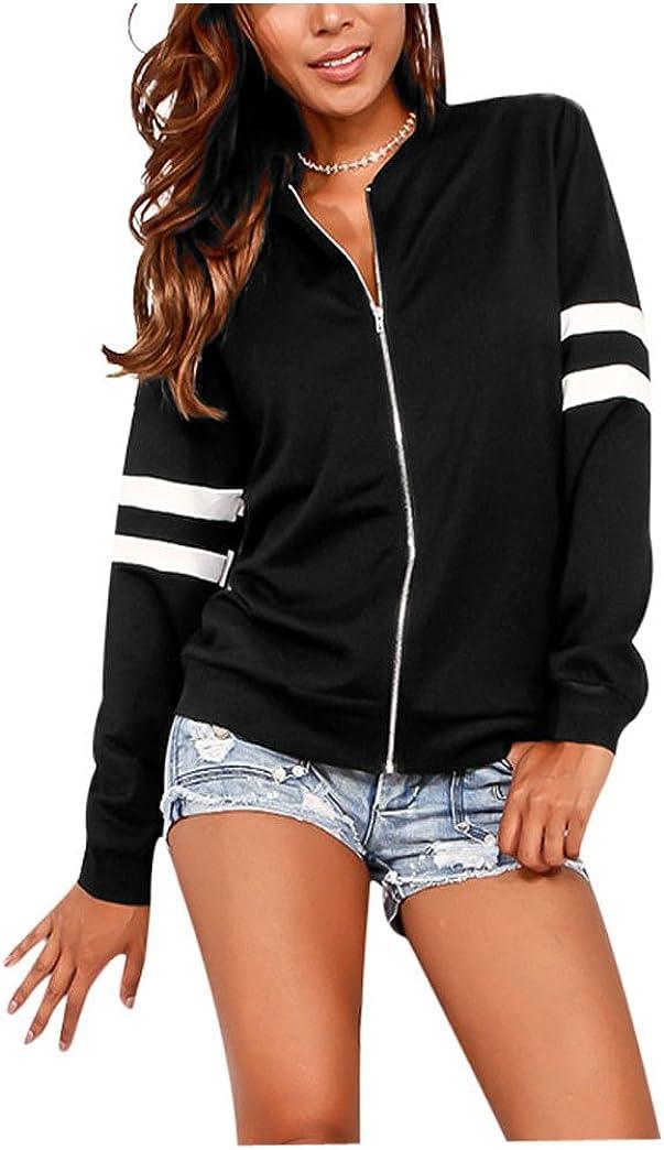 Vamvie Womens Casual Long Sleeve Zip Up Stand Collar Bomber Jacket