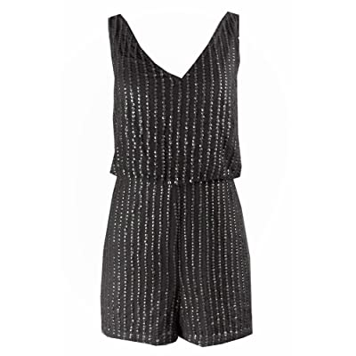 Adrianna Papell Black Sleeveless Sequined Romper