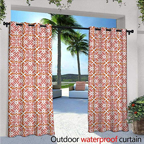 - Coral Exterior/Outside Curtains W84 x L84 Organic Floral Shapes Twenties Fashion Victorian Tile Retro Boho Art Print for Patio Light Block Heat Out Water Proof Drape Coral Orange White