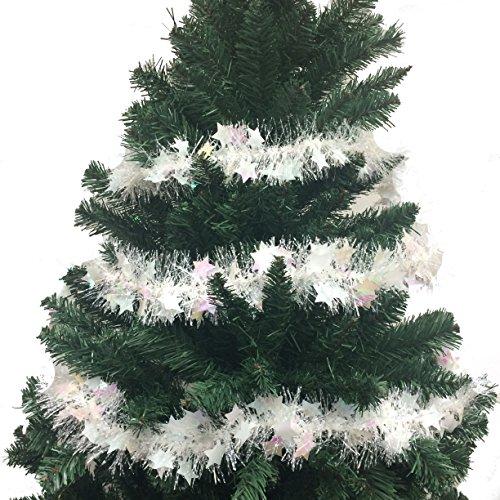 - SANTA'S FINEST 103 Inch Luxury Tinsel Christmas Garland - White/Star