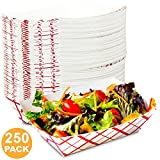 3 lb Heavy Duty Disposable Red Check Paper Food Trays Grease Resistant Fast Food Paperboard Boat Basket for Parties Fairs Picnics Carnivals, Holds Tacos Nachos Fries Hot Corn Dogs [250 Pack]