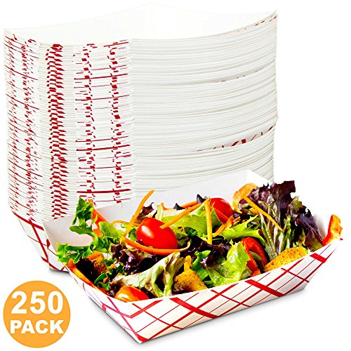 [250 Pack] 3 lb Heavy Duty Disposable Red Check Paper Food Trays Grease Resistant Fast Food Paperboard Boat Basket for Parties Fairs Picnics Carnivals, Holds Tacos Nachos Fries Hot Corn - Grease Food