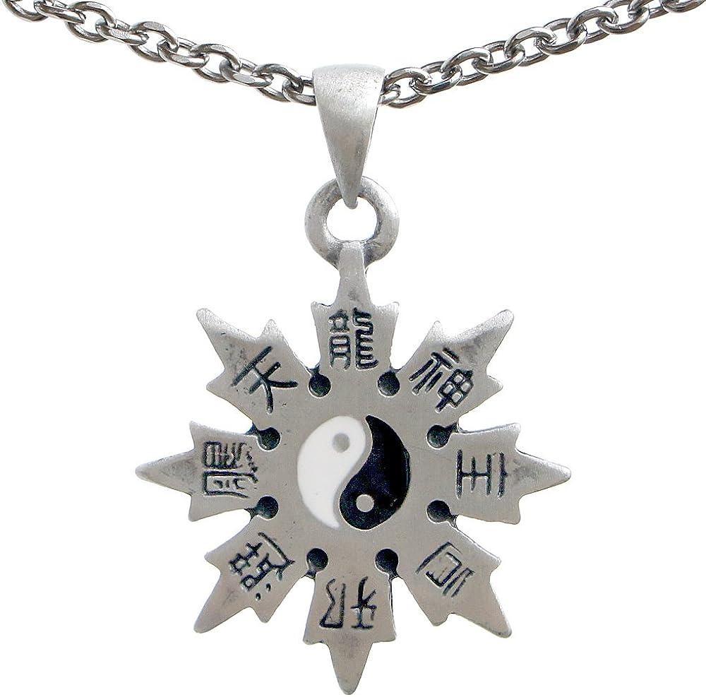 OhDeal4U Throwing Star Yin Yang Jewelry Shaolin Shuriken Kung-Fu Chinese Ninja Ninjitsu Pewter Pendant Charm Amulet Medallion Stainless Steel Chain Necklace Choker