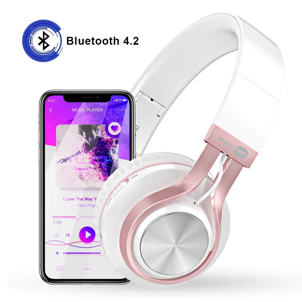 Baseman Wireless Bluetooth Headphones with Mic, Wired and Wirelss Mode, Over Ear Lightweight Foldable Headphone, Hi-Fi Stereo Deep Bass Earphones for Kids Girls Women Learn Travel Work Rose Gold