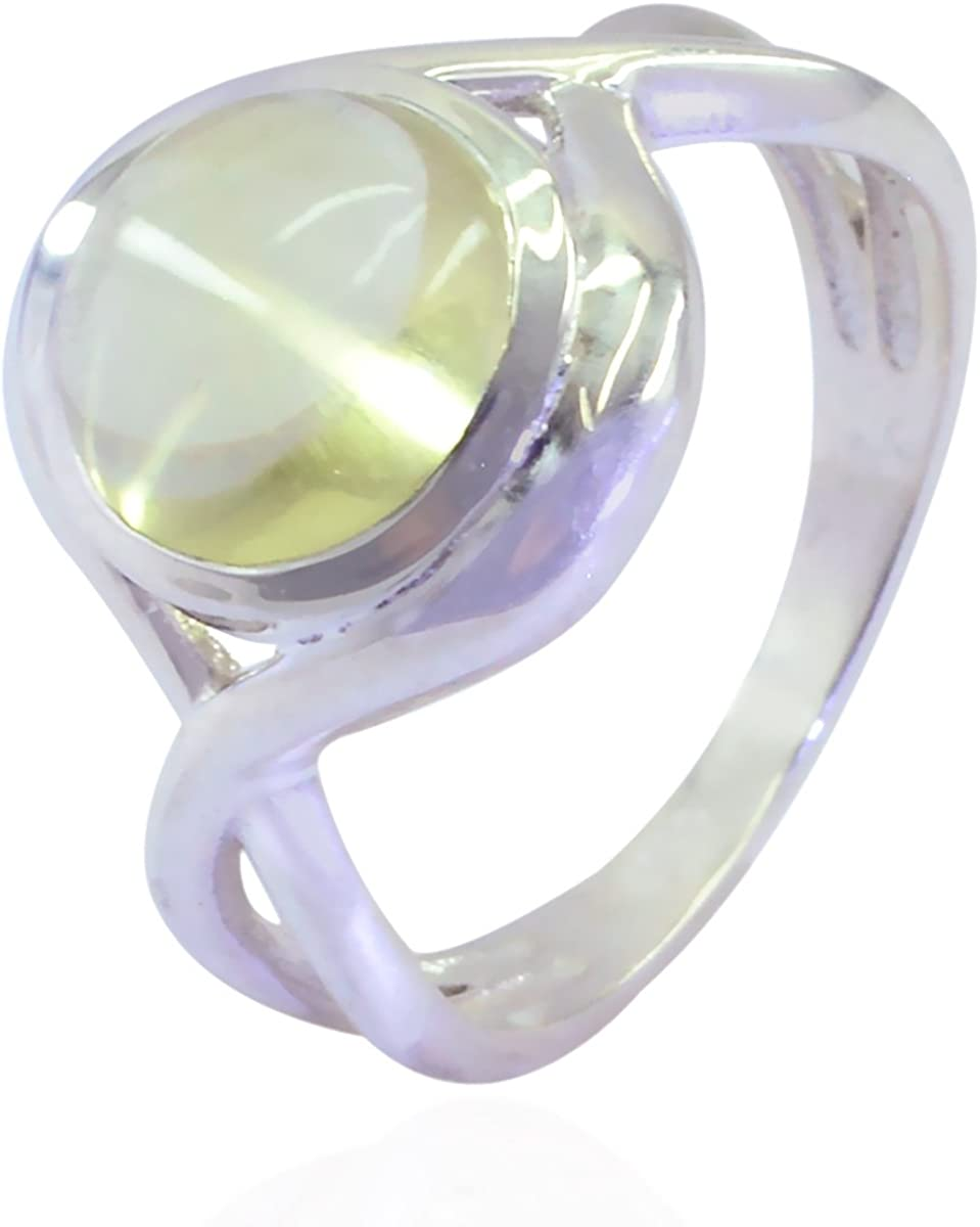 fine Jewellery Greatest Item Gift for Mothers Day Personalized Jewelry Lucky Gemstone Round cabochon Prehnite Ring 925 Sterling Silver Green Prehnite Lucky Gemstone Ring
