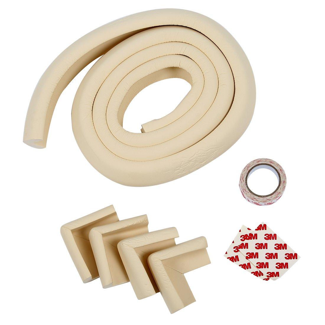 TOOGOO 2m Protector Bordes+4 X Protector Esquinas Caucho Mesa Mueble Antigolpes Seguridad para Ninos Bebe R