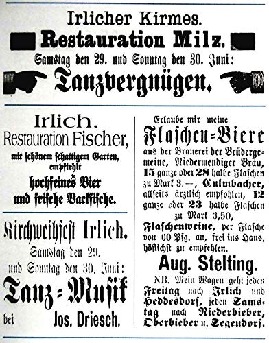 Home Comforts Peel-n-Stick Poster of Rheinland The Newspaper Ads 1870 to Off Vivid Imagery Poster 24 x 16 Adhesive Sticker Poster Print