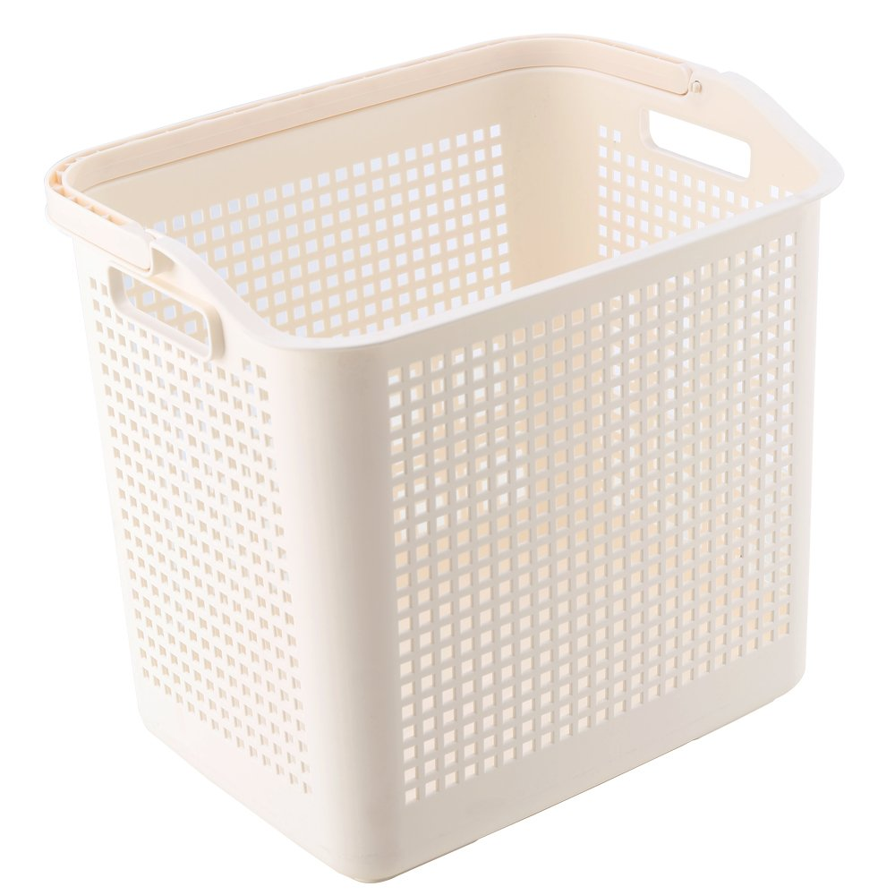 Impr3.Tree Rolling Carry Laundry Hamper Luxe Collection Plastic Storage Basket (Beige)