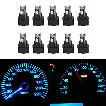 WLJH White 6000K Canbus Super Bright PC74 T5 2721 73 74 Led Bulb Automotive Car Instrument Cluster Light Gauge Dash Dashboard Indicator Panel Lights 10pcs Lamp with 10pcs Twist Lock Socket