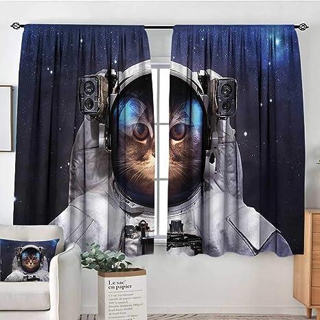 Amazon.com: Cortinas con diseño de gato espacial, para ...