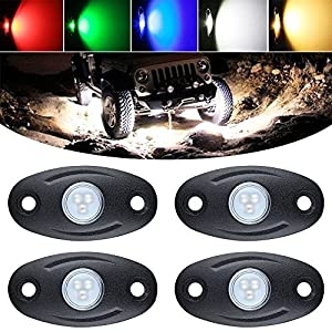Autvivid 4 PCS Cree 9W / Each Universal LED Rock Lights Underbody Glow Trail Rig Lamp Atmosphere LED Lighting Kit Waterproof for JEEP ATV SUV UTV Offroad Truck Boat (Blue)