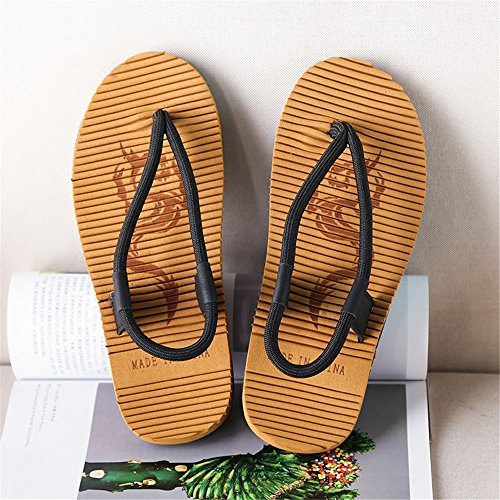 Handwork Non Flip Flops Rope 5MUS Beach Sunny 6 Soft Abrasion Slip Black Black Slippers Men's Color Thong Size Flat Sandals Resistant amp;Baby wtqSpIpz8