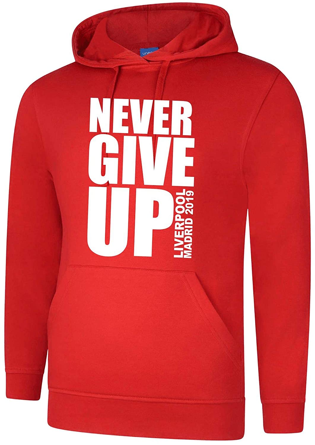 Never Give Up Liverpool Hoody-Champions Football League Mo Barcelona Hoody Salah Womens Mens Kids Madrid Final 2019 Style 3
