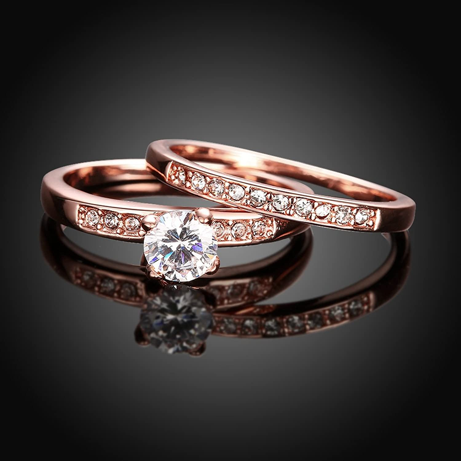 amazoncom eternity love womens pretty 18k rose gold plated solitaire cz crystal engagement rings set best promise rings for her anniversary wedding - Rose Gold Wedding Rings For Women