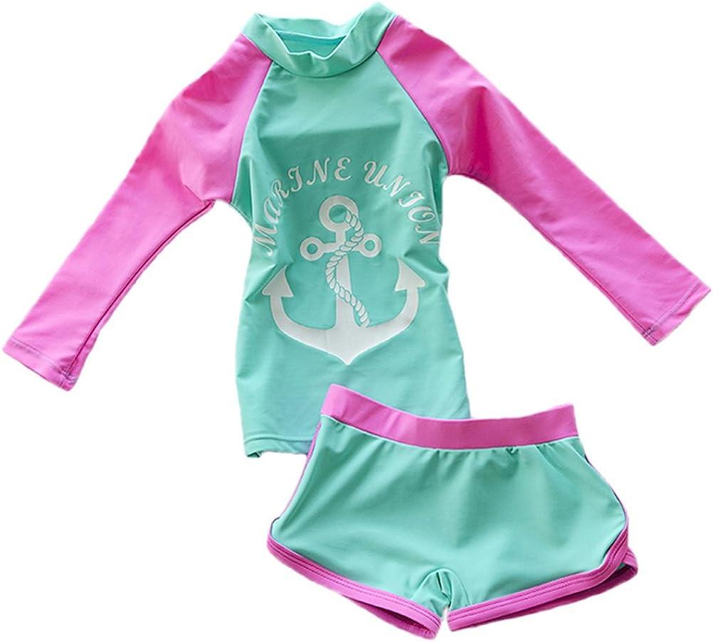 Yober Baby Toddler Girls Kids Long Sleeve Swimsuit Rash Guard UPF 50 UV