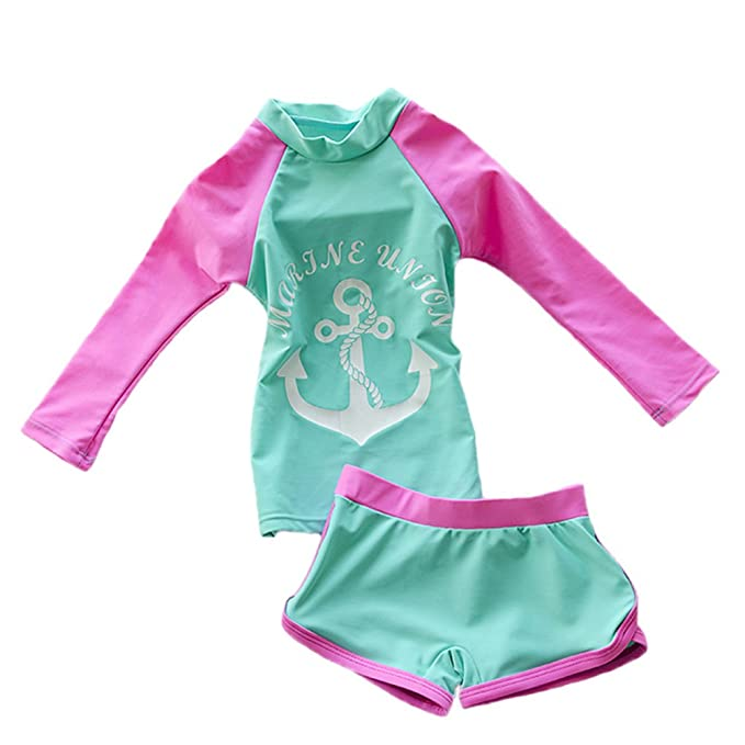 ef30fb5426480 Toddler Baby Girl Swimsuit Two Pieces Kid Long Sleeve Rash Guard UPF  50+(Green