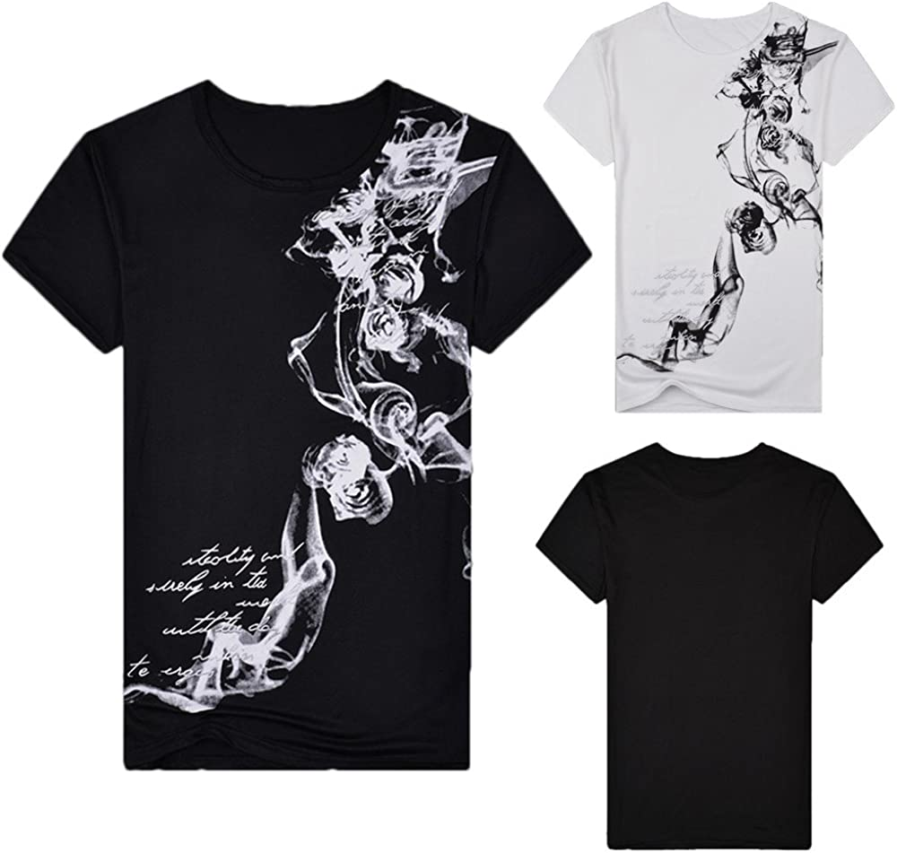 Hmlai Clearance Men T Shirts Graphic Fashion Summer Short Sleeve Big and Tall 3D Map Printed Funny Cotton Tops Blouses