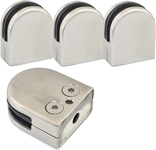 2 Pairs Square Stainless Steel Bracket Clamp Clip for 10//12MM Window Glass