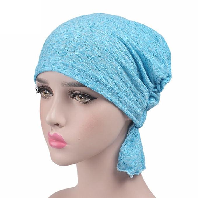 Amorar Chemotherapie Deckel Mode Chiffon Chemo Schal Hut Turban Kopf Schals Pre-Tied Haarausfall Hut Elastische Headwear Kopftuch Hut f/ür Krebs