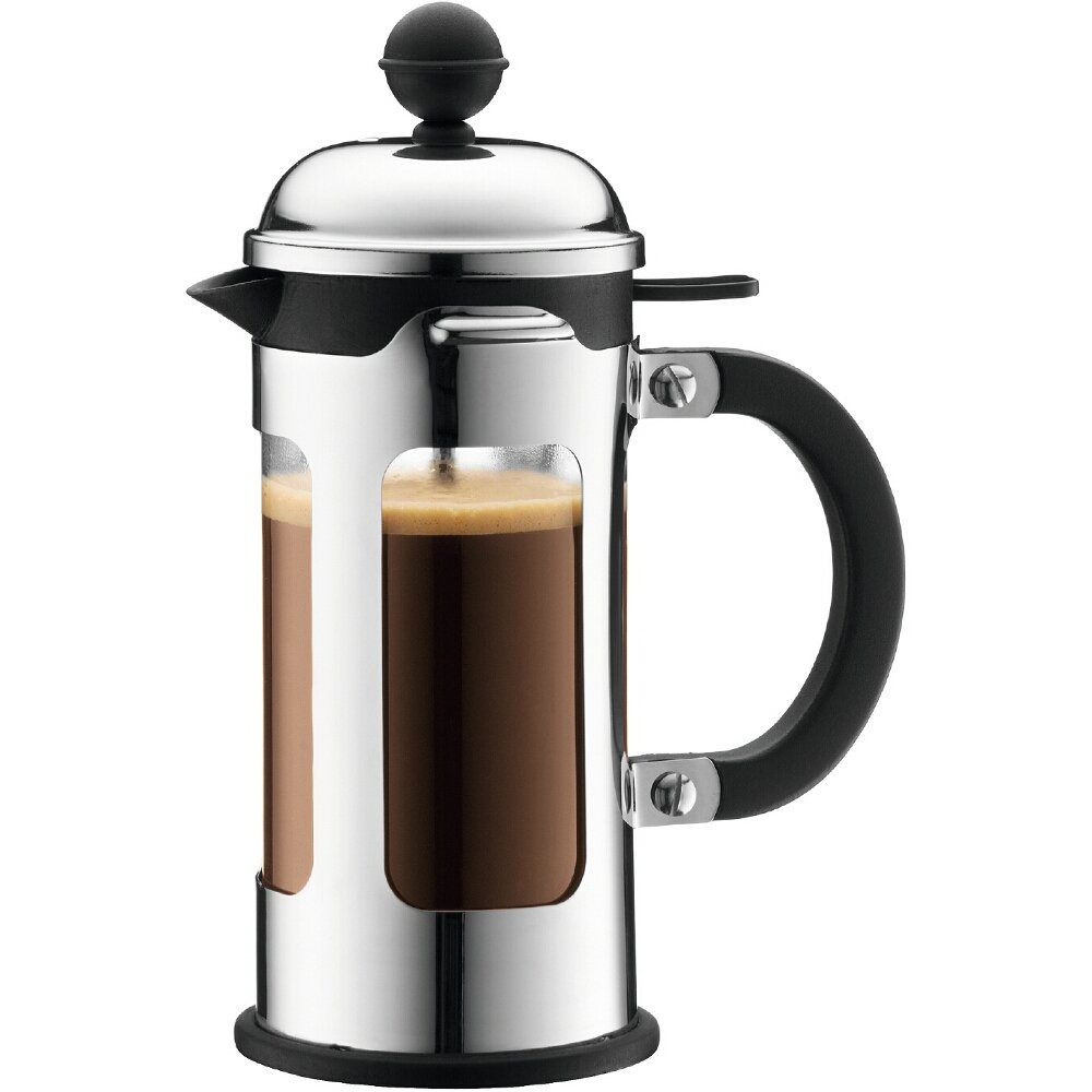 Bodum 11170-16 Chambord 3 Cup French Press Coffee Maker with Locking Lid, Stainless Steel, 12-Ounce